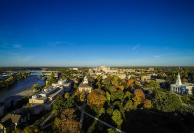 An aerial view of the Lawrence University campus in Appleton, Wisconsin