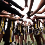 The Southwestern University women's lacrosse team prepares for a game