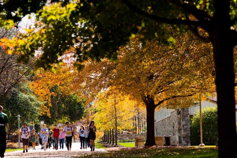 Goucher College students walk across campus on a fall day