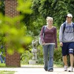 Hiram College students walk across campus