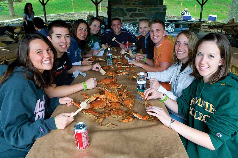 McDaniel College students enjoy a crab boil together