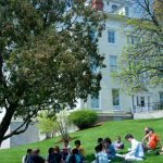 Ohio Wesleyan University students have class on the campus lawn