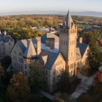 An aerial view of the Ohio Wesleyan University campus