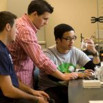 Saint Mary's College students work together in a science lab