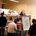 Ursinus College students in an art class