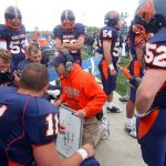 The Wheaton College football team huddles with the coach