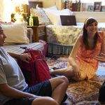 Agnes Scott College students hang out in a residence hall room