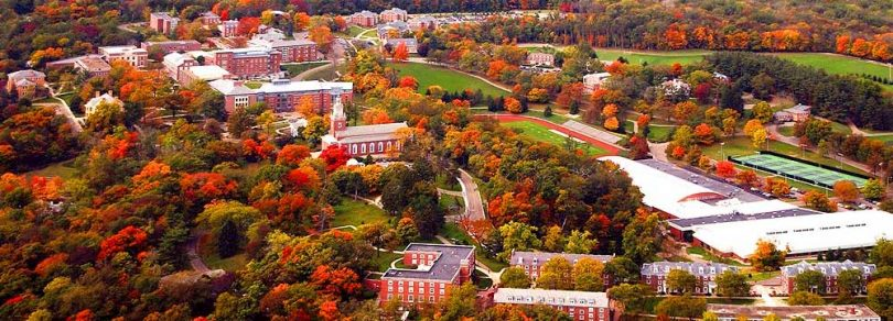 Aerial photo of Denison University in the autumn