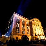 Birmingham-Southern College campus lit up at night