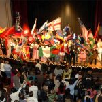Clark University students celebrate internationalism with flags of students' native countries