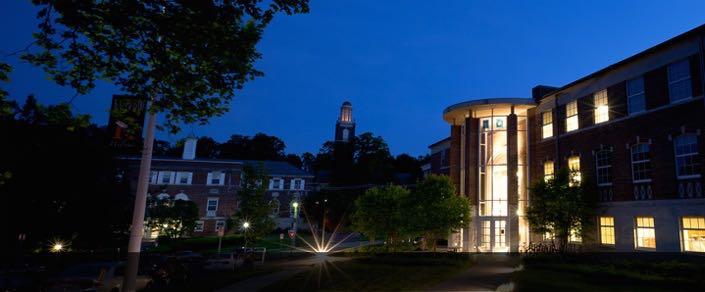 Kalamazoo College campus lit up at night