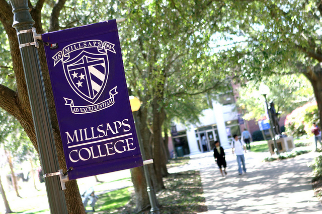 Millsaps College students walk across campus on a spring day